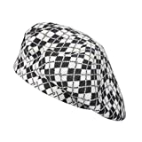 ZLYC Womens Reversible Cashmere Beret Hat Double Layers French Beret (Checkered White)