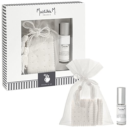 Mathilde M : Coffret Cadeau Décors parfumés 4 Biscuits + Concentré de Parfum d'ambiance (Poudre de Riz)