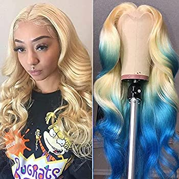 Glueless 613 Blonde Lace Front Wigs Human Hair with Baby Hair Middle T-Part Pre Plucked Peruvian Body Wave Lace Frontal Wig Can Be Dyed Honey Blonde Remy Lace Wigs For Women  18 inch 13x1 body wave