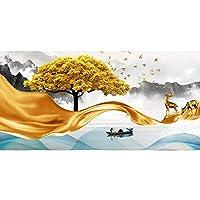 キャンバス絵画 リビングルームのホームインテリア(ノーフレーム)のためのウォールアート絵画現代ゴールデン抽象的な風景アートゴールデンラインツリーとストーンの写真 (Color : B, Size (Inch) : 30x90cm(No Frame))