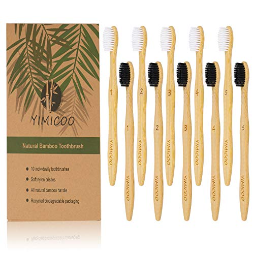 Charcoal Bamboo Toothbrush, YIMICOO Biodegradable Natural Organic Toothbrushes Eco-Friendly Soft BPA Bristles (Packs of 10, Black and White Bristles)