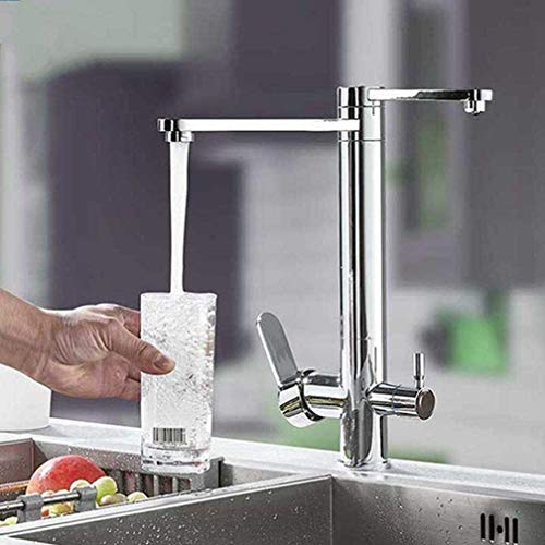 AXWT Cromo purificar la cocina del grifo de la plataforma de la cubierta de la plataforma de la manija dual de la cocina del fregadero del grifo del grifo giratorio SPOUTE MEZCLADOR DE AGUA PARA EL FI