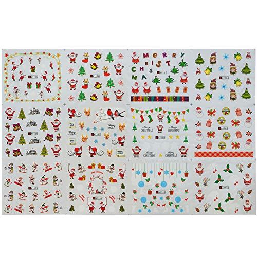 Zonfer 12pcs / Set Natale di Santa Raffreddano Adesivi per Le Unghie del Fiocco di Neve Fiori Nail...
