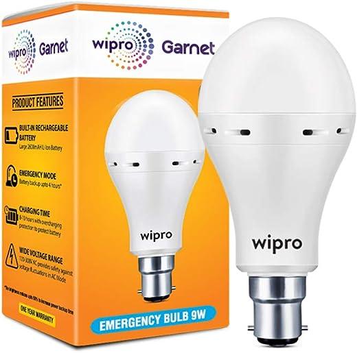 Wipro Inverter Bulb 9 Watt Rechargeable Emergency LED Bulb for Home Base B22, White