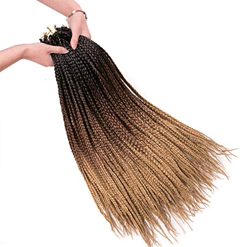 Geyashi Hair 24Inch 6 Packs/Lot 100G/Pack Ombre Dark Roots Honey Blonde 3S Pre Looped Box Braids Senegalese Twist Box Ombre Crochet Hair Extensions High Temperature Fiber Kanekalon(1B/4/27)