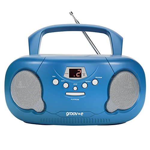 Groov-e Portable CD Player Boombox with AM/FM Radio, 3.5mm AUX Input,...