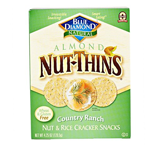 Gluten Free Almond Nut-Thins Cracker Snacks, Country Ranch (Pack of 4 - 4.25 Oz. Boxes)