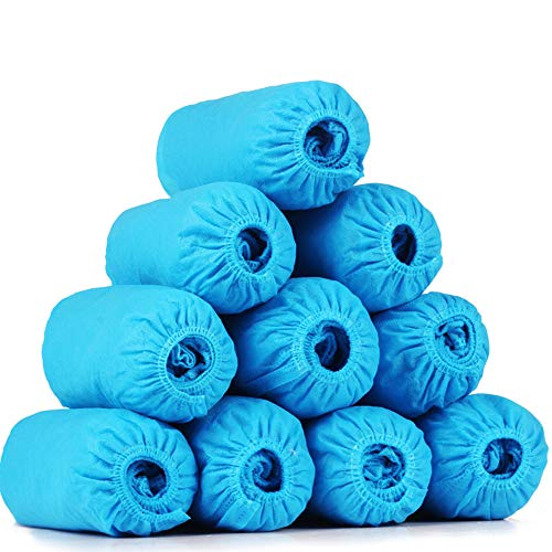 Non-woven antislip laarsovertrekken 200 stuks wegwerp overschoenen Hygiënisch, duurzaam, recyclebaar voor de bouw, kantoren, vloerbedekking binnenshuis,Dark blue