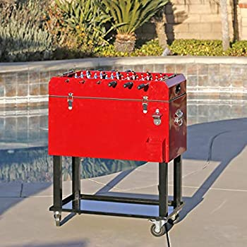 Clevr 68 Quart Qt Red Patio Cooler Ice Chest with Foosball Table Top Portable Patio Party Bar Cold Drink Rolling Cart on Wheels with Tray Shelf,17 Gallon/ 65L Outdoor Rolling Beverage Cart