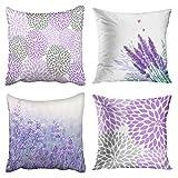 4 PC Lavendel und lila Blumen Dekokissen, Nourich Pillowcases Sofakissenbezug Kissenbezug Bezug...