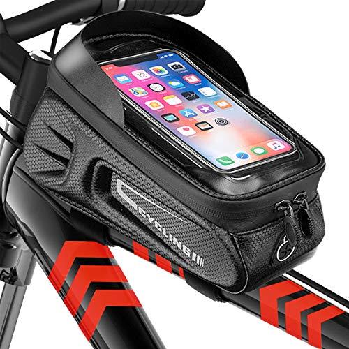 BOYO Bolsa para cuadro de bicicleta resistente al agua, 6,5 pulgadas, funda para el marco del teléfono móvil resistente al agua, TPU táctil, adecuado para todos los tipos de bicicletas