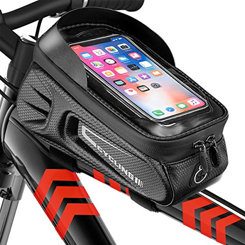 BOYO Fahrrad Rahmentasche Wasserdicht, Fahrrad Handytasche, 6,5 Zoll Reflektierend, Rahmentasche Handy Wasserdicht TPU Touchscreen, Geeignet für Alle Arten von Fahrrädern