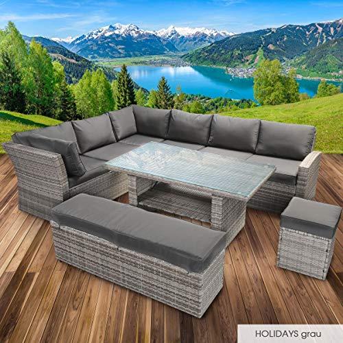 BRAST Poly-Rattan Gartenmöbel Essgruppe Lounge Set Sitzgruppe Outdoor Möbel Garten Garnitur Sofa Holidays Grau Anthrazit - 2
