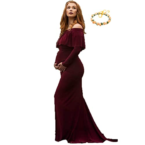 efc3631d4b8bb sicily Maternity Grace Off The Shoulder Maxi Dress for Photo Shoot-Long  Sleeve Baby Shower