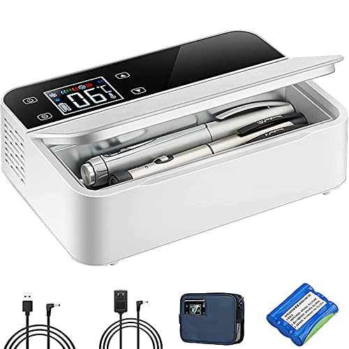 ZCM-JSDTWS Tragbare Insulin Kühlbox für Medikamente Mini Intelligente Elektrische Mini Kühlschrank Kühltasche Thermostat USB Geeignet FüR Reisen/Interferon/Lagerung Von Arzneimitteln,1Batteries