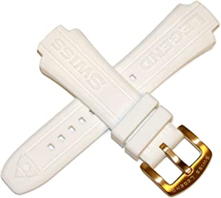 Swiss Legend 17MM White Silicone Rubber Watch Strap & Gold Stainless Buckle fits 40mm Neptune Watch