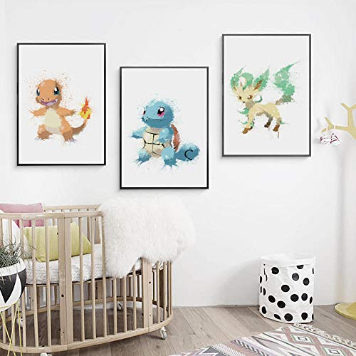 wsqyf Canvas Painting Printed Home Decoration Watercolor Anime Pokemon Elfin Wall Artwork Modular Pictures Poster for Living Room/40x60cmx3 (no Frame)