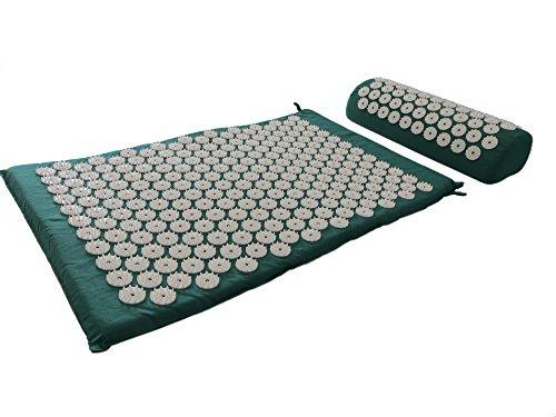 HQ acupressuurmat massagemat/mat + kussen + tas SET/nagelmat yantramat yogamat groen eco