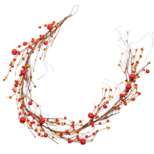 VGIA 5 Feet Fall Garland Red Berry Garland Autumn Decorations Harvest Festival Decor for Home Mini Pumpkins Decor for Table Door and Window Thanksgiving Decorations