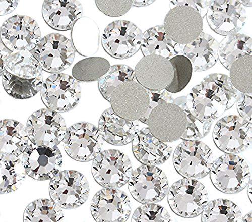 Jollin Strasssteine, Glas, mit flacher Rückseite, zur Befestigung mit Klebstoff, kristall, SS5 2880pcs