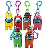 6PCS Among Us Llavero HANEL-Mini figuras de juego lindas colección juguetes de muñecas extraíbles, adornos de regalo para niños y niñas fans del juego Adultos Regalo de Cumpleaños
