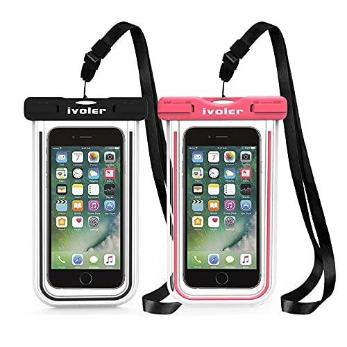 ivoler Waterproof Phone Pouch, [2 Pack] IPX8 Fluorescent Design Universal...