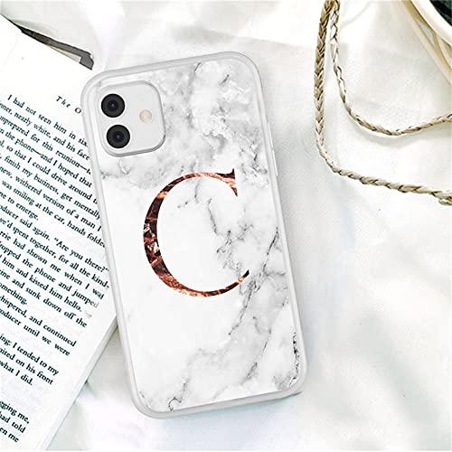 QLTYPRI Funda para iPhone 7 8 iPhone SE 2020, mármol, fina, suave y flexible, TPU mármol, A Z, tu propio alfabeto letra, brillante parachoques, funda para teléfono móvil, color blanco – Letras C