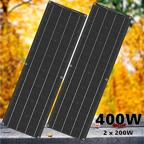 Framy Semi-Flexible Solar Panel 400W 2X 200W Black Solar Panel Battery Charger 5V/12V/24V Controller Car Yacht Battery Boat RV Home Camping