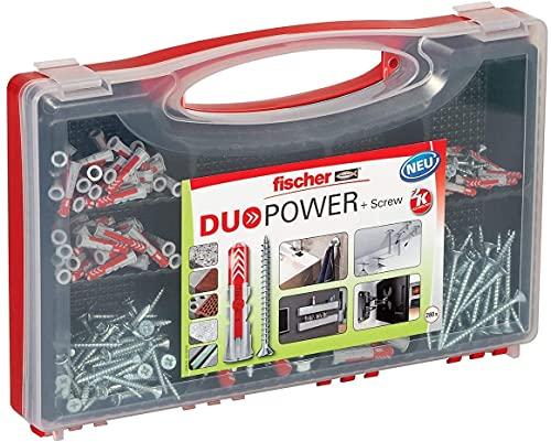 fischer RED-BOX DUOPOWER + Schrauben, Sortimentbox, 280-teilig mit Schrauben & DUOPOWER Dübeln in verschiedenen Größen, vorsortiertes Set für zahlreiche Baustoffe und...