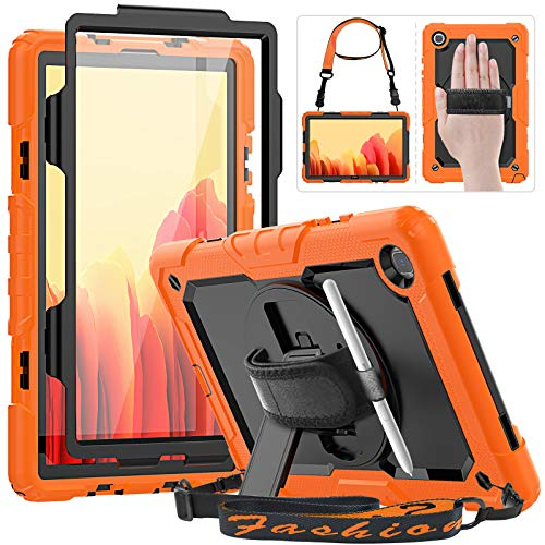 HXCASEAC Samsung Galaxy Tab A7 2020 Case Kids, SM-T500/T505 Case, Durable Shockproof Case with S Pen Holder, Screen Protector, 360 Rotating Stand/Hand Strap, Shoulder Strap for Samsung Tab 10.4,Orange