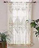 Flber Cortina de macramé para colgar en la pared, macramé, tejido a mano, bohemio, telón de fondo de boda, cortinas de cocina, 127 cm de ancho x 75 cm de alto (cortina de macramé2)