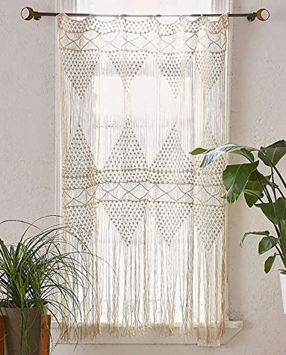 "Flber Macrame Curtain Macrame Wall Hanging Macramé Handwoven Boho Wedding Backdrop Kitchen Curtains,50"" Wx75 H (Macrame curtain2)"