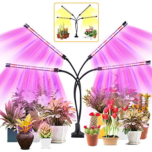 YASBED Lampara de Cultivo, Luces de planta de espectro completo de temporizador de encendido / apagado automático 3/9 / 12H, 9 niveles regulables, cuello de cisne ajustable