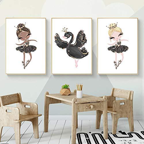 Figura de dibujos animados imagen nórdica lienzo pintura animal pared arte bailarina negro cisne imprimir cartel para niños habitación decoración-40x60cmx3 piezas sin marco