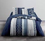 Today Enjoy - Juego de Cama HC3, Funda nórdica de 220 x 240 cm y 2 Fundas de Almohada 100% algodón, 57 Hilos, Gris, Blanco, Azul, 240 x 220 cm