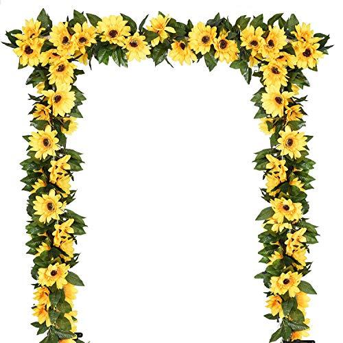 YQing 2 Pezzi Girasoli Finti Ghirlanda, 219cm Fiore Girasole Artificiali Girasoli Finti per Decorazioni da Tavolo per Matrimoni