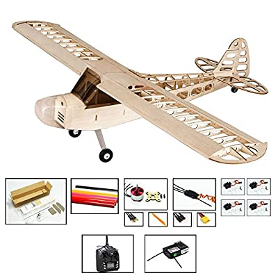 """Viloga S08 J3 Balsa Wood Model Plane, Laser Cutting Flying Model Aircraft 46"""" Wingspan Unassembled Kits, DIY Electric 4CH Radio Controlled Airplanes Toy to Build for Adults That Enjoy Flying"""