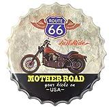 AVENUELAFAYETTE Décoration Murale métal - Cadre - Tableau - Capsule Moto - Route 66 - pub publicité - Vintage rétro - 40 cm