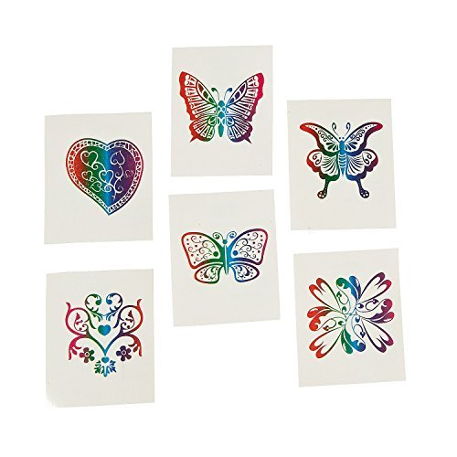 Fun Central AZ961 72ct 2 Pack of Rainbow Glitter Temporary Tattoos For Kids, Temporary Stickers, Temporary Tattoos For Kids Girls, Rainbow Temporary Tattoos, Xmas Kids Goodie Bag Favors - Assorted