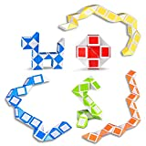 Ganowo 6 Pack Magic Snake Cube Mini Twist Puzzle Collection Brain Teaser Toy Snake Ruler Fidget Toys Sets for Kids Stocking Stuffers Party Favors Goodie Bags Fillers Game Geometric