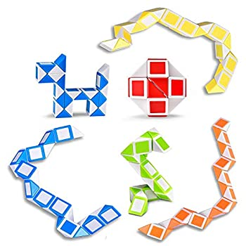 Ganowo 6 Pack Magic Snake Cube Mini Twist Puzzle Collection Brain Teaser Toy Snake Ruler Fidget Toys Sets for Kids Stocking Stuffers Party Favors Goodie Bags Fillers