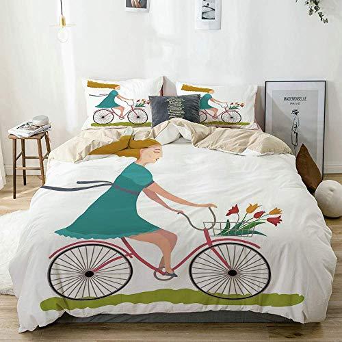 Juego de Funda nórdica Beige, Mujer Joven en Bicicleta con Canasta de Flores de tulipán Montando en el Campo de Primavera, Juego de Cama Decorativo de 3 Piezas con 2 Fundas de Almohada