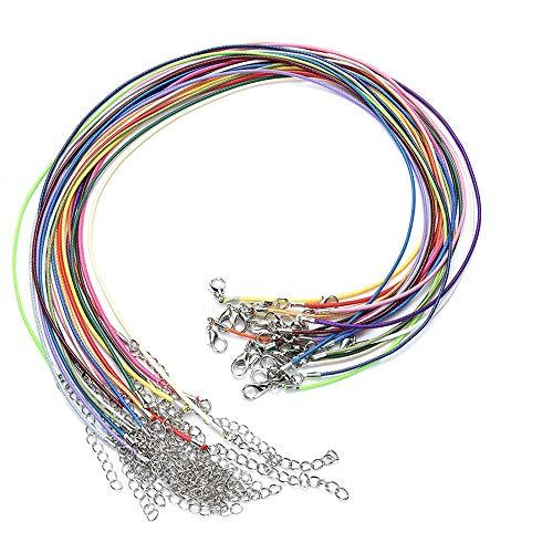 Xkfgcm 20 piezas 2 mm Cadena de cuero con Cadena de Extensión y Cierre de Langosta Cadena Encerada Puede hacer pulseras collares tobilleras y agregar colgantes (Múltiples colores disponibles)