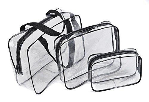 ZD71 PVC Trasparente Impermeabile Trucco Toeletta Del Sacchetto Della Cassa Pieghevole Cosmetic Organizer (Nero)