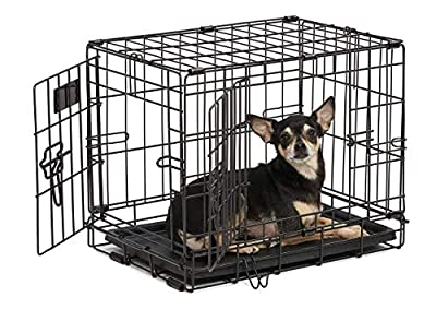 Dog Crate | MidWest iCrate XXS Double Door Folding Metal Dog Crate w/ Divider Panel, Floor Protecting Feet & Leak-Proof Dog Tray | 18L x 12W x 14H Inches, Toy Dog Breed, Black