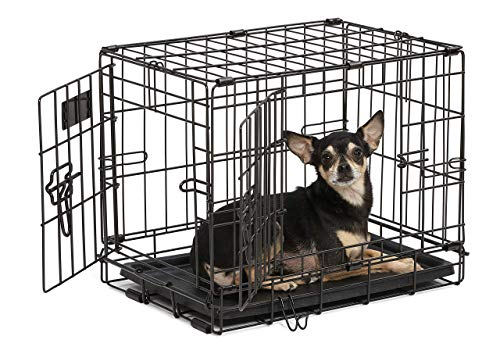 Dog Crate | MidWest iCrate XXS Double Door Folding Metal Dog Crate w/ Divider Panel, Floor...