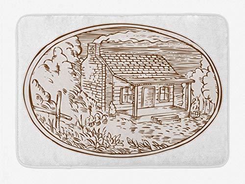 Bernice Winifred Bauernhaus Badematte Hand gezeichnete rustikale Blockhaus mit Rauch aus dem Kamin ovale Form Rahmen Plüsch Badezimmer Dekor Matte mit Rutschfester Rückseite 15,7