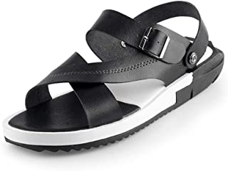 Xujw-shoes, Mens Water Slippers Summer Beach Sandals for Men Anti Slip on Synthetic Leather Cozy Breathable Open Toe Ankle Strap Buckle Closure Lightweigt