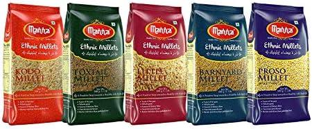 Manna Millets - Natural Grains Combo Pack of 5 | Foxtail 500g, Kodo 500g, Proso 500g, Little 500g, Barnyard 500g |...