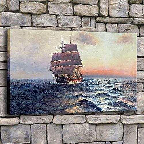 HNTHBZ Mode Leinwand-Malerei Wand-Kunst-Ölgemälde 1 Stück Segelschiff auf See Bilder Wohnzimmer Druck Segel Welle Seascape Poster Wohnkultur Gemälde (Size (Inch) : 60cmx90cmx1pcs)